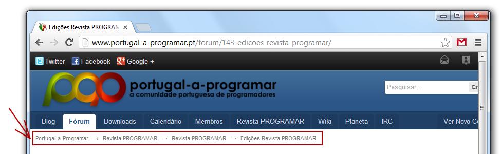 breacrumbs - página da comunidade portugal a programar